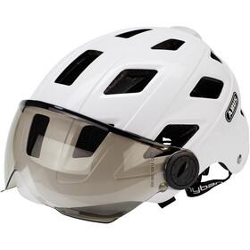 ABUS Hyban+ Kask rowerowy, white, smoke visor